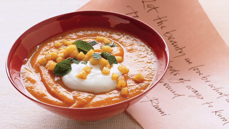 Roasted Sweet Potato Soup with Curried Apples