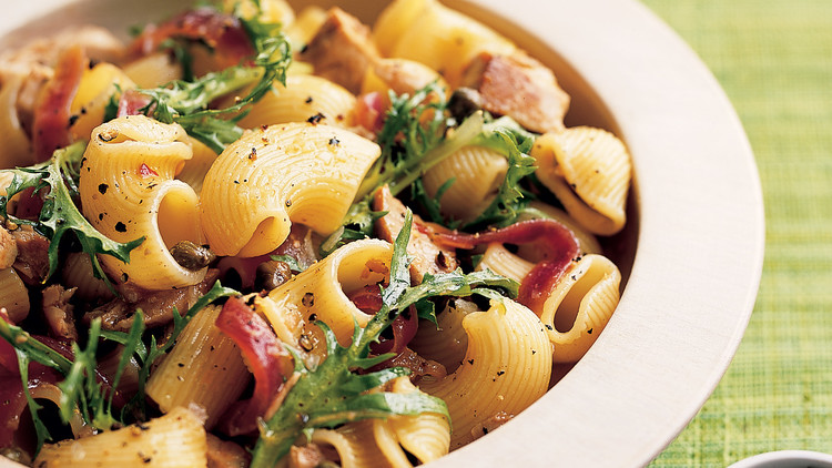 Pasta Salad with Tuna, Red Onions, and Frisee