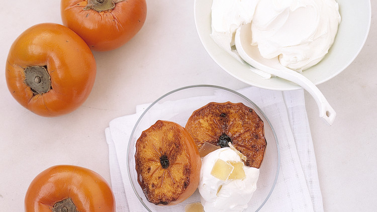 Broiled Persimmons with Mascarpone