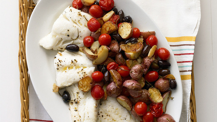Roasted Cod with Potatoes and Olives