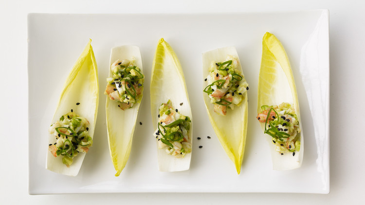 shrimp avocado salad on endive