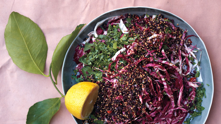 Chopped Arugula, Radicchio, and Parsley Salad