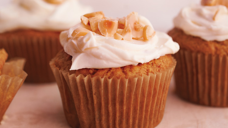 Hazelnut Carrot-Oat Cupcakes with Cream-Cheese Frosting