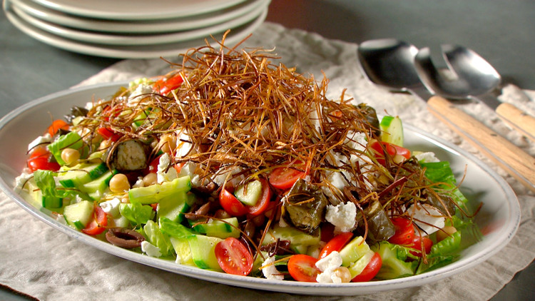 Greek Salad with Fried Leeks