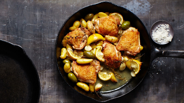 skillet chicken potatoes olives
