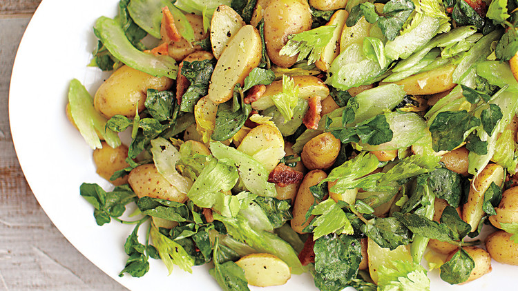 Potato Salad with Celery, Cress, and Bacon