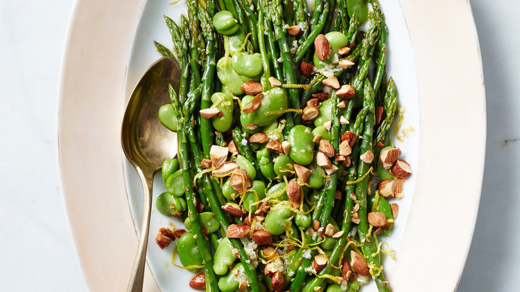 Asparagus and Fava Beans with Toasted Almonds