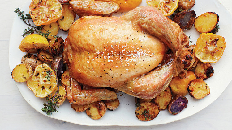 Roast Chicken with Meyer Lemons and Potatoes