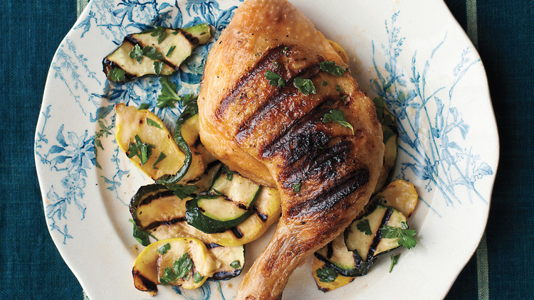 Grilled Chicken With Summer Squashes and Parsley
