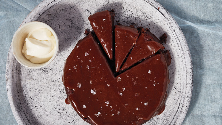 Flourless Chocolate-Date Cake with Salted-Caramel Sauce