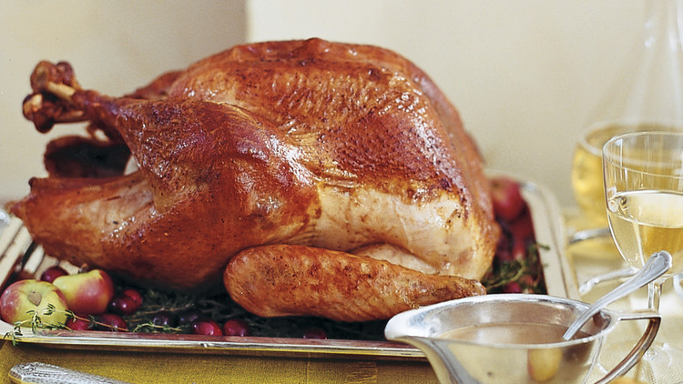 Roasted Brined Turkey with Porcini, Chestnut, and Sausage Stuffing