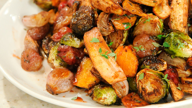 Roasted Fall Salad with Parsnips, Brussels Sprouts, and Grapes