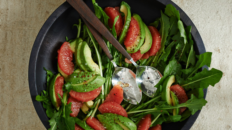 Texas Grapefruit, Avocado, and Dandelion-Greens Salad