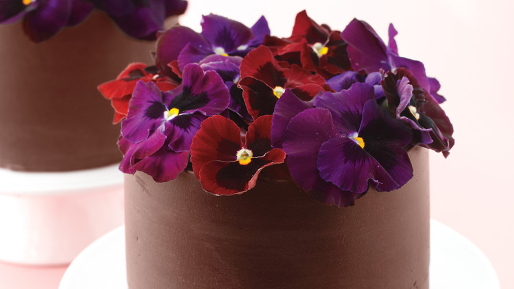 Chocolate Truffle Cakes with Fresh Pansies