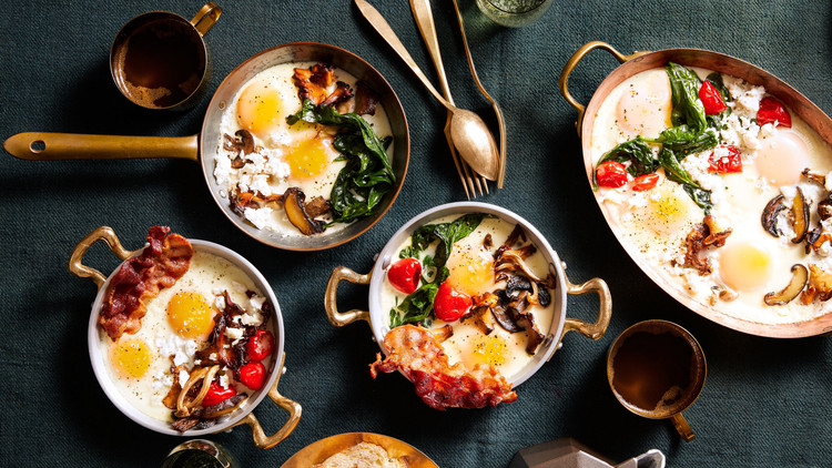 three variations of baked eggs in skillets