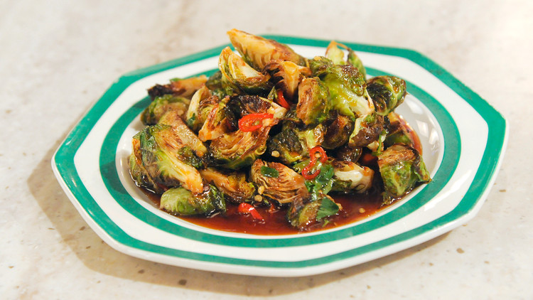 Roasted Brussels Sprouts with Chile Caramel