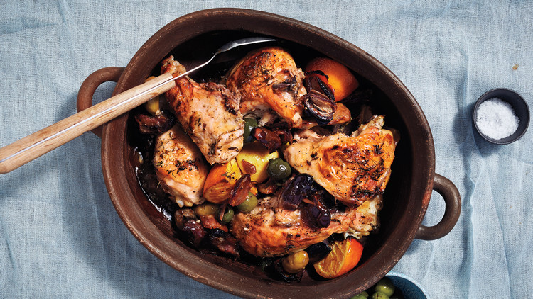 Roasted Chicken with Dates, Citrus, and Olives