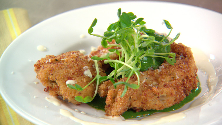 Emeril's Andouille Crusted Oysters with Spinach Coulis