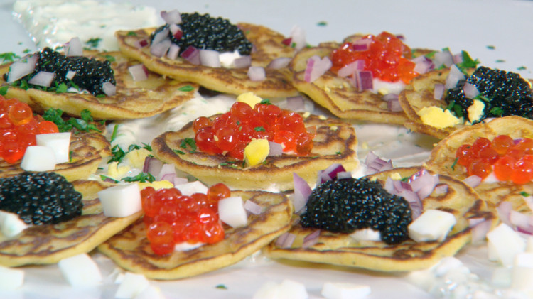 Emeril's Corn Cakes with Caviar and Traditional Garnishes