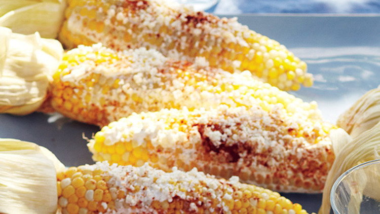 Grilled Corn with Sour Cream and Cotija Cheese
