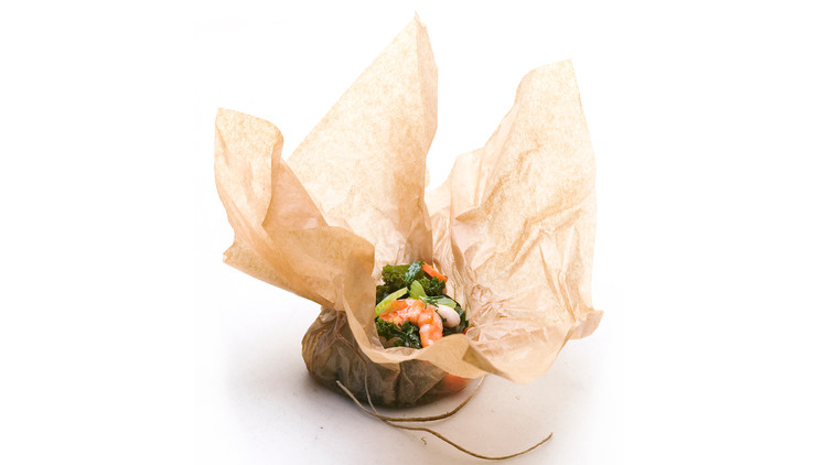 Shrimp with Kale and White Beans Baked in Parchment