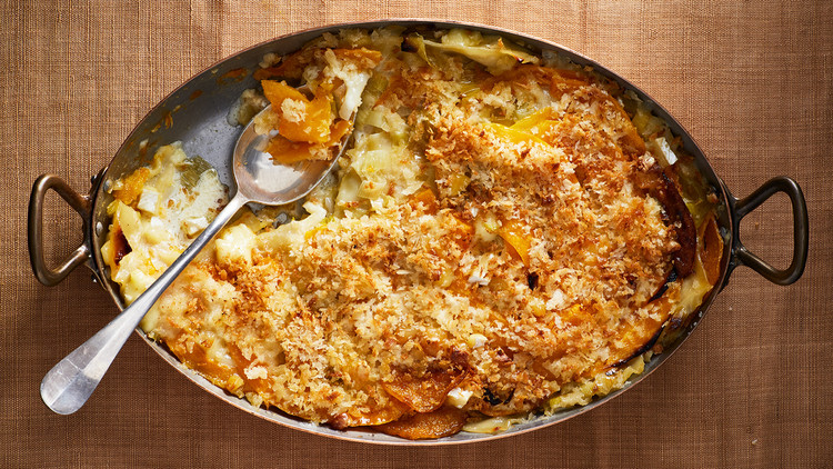 Honeynut Squash, Leek, and Brie Gratin