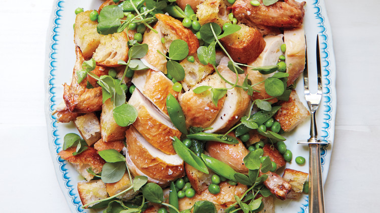 Roasted-Chicken Bread Salad with Peas