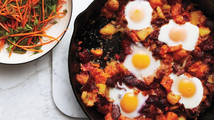 Red Flannel Hash with Eggs