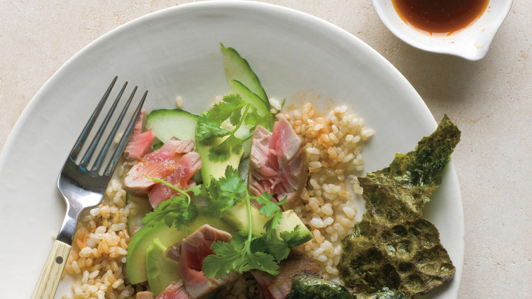 Brown Rice with Tuna, Avocado, and Toasted Nori
