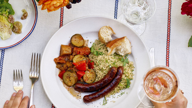 Grilled Merguez with Herbed Couscous