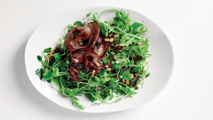 Baby Greens with Pine Nuts and Pancetta