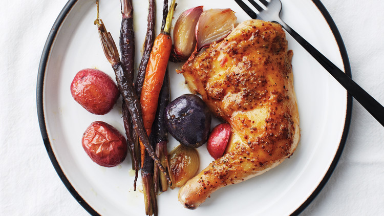 Maple-Mustard Chicken Legs with Potatoes and Carrots