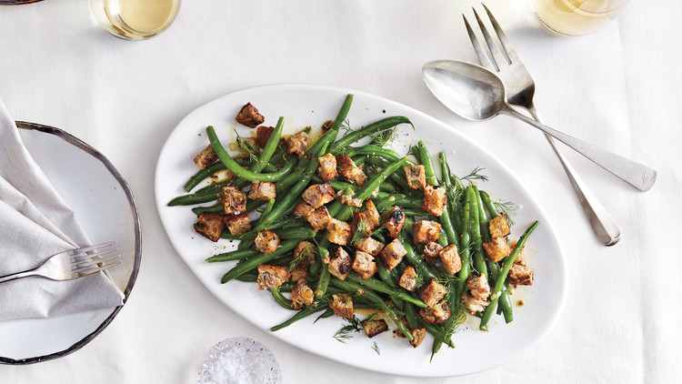 Herbed Green Beans with Warm Mustard Vinaigrette