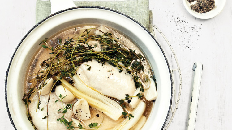 Chicken Poached with Thyme and Leeks