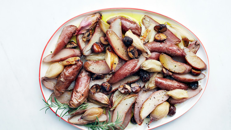 Salt-Roasted Potatoes, Shallots, and Chestnuts