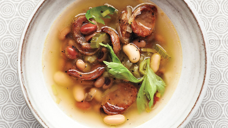 Mixed-Bean Soup with Andouille and Celery