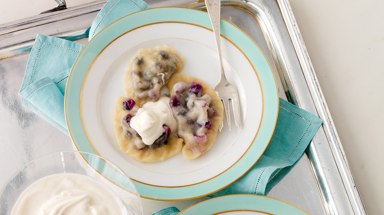 Pierogi with Blueberry Filling and Spiced Sour Cream