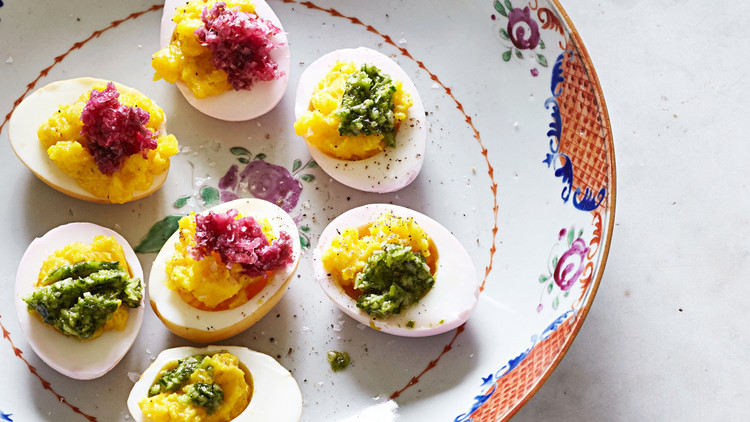 dyed deviled eggs