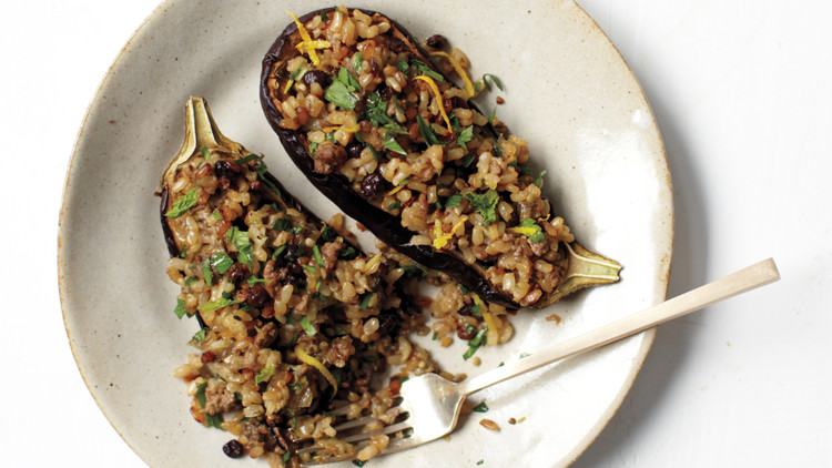 Eggplants Stuffed with Lamb, Rice, and Currants