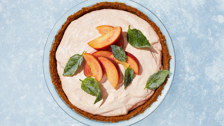 Peach Chiffon Pie with Candied Basil Leaves