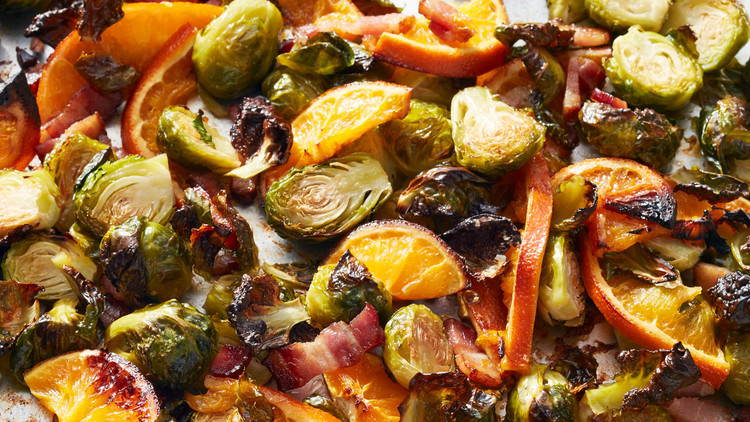 Brussels Sprouts with Oranges and Bacon