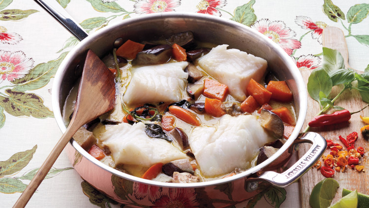 Coconut-Curry Fish with Sweet Potatoes and Eggplant