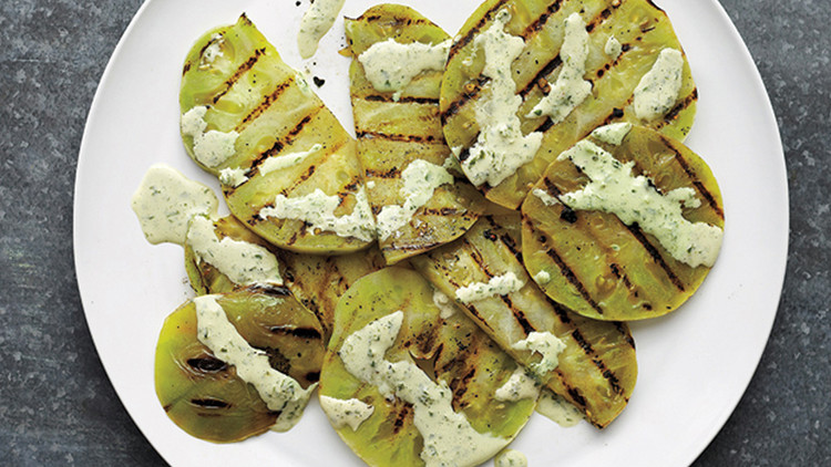 Grilled Green Tomatoes with Creamy Basil Sauce