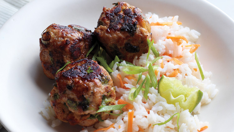 Asian Turkey Meatballs with Carrot Rice