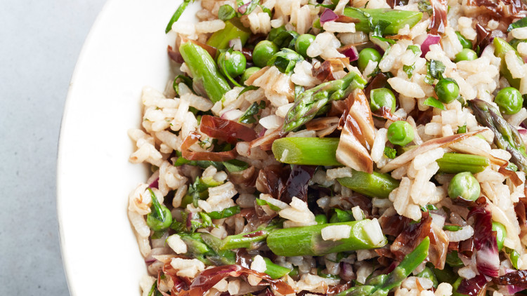 Rice Salad with Asparagus and Peas