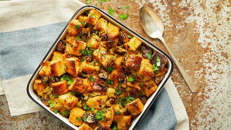 vegan stuffing in casserole dish