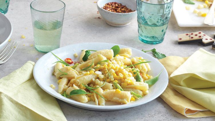 Campanelle with Corn, Scallions, and Arugula
