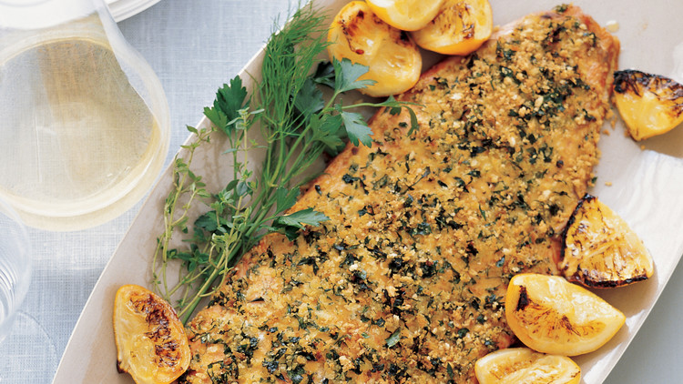 Herb-Crusted Salmon with Roasted Lemons