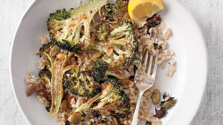 Roasted Broccoli with Pumpkin Seeds and Grated Pecorino
