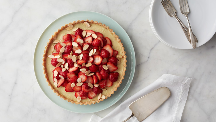 Almond Custard Tart with Strawberries